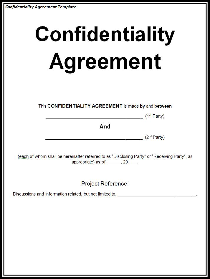 By David J. French Confidentiality Agreement Template  Free Printable Non Disclosure Agreement